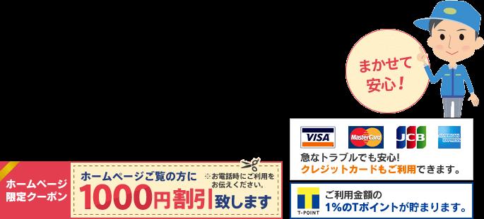 ホームページをご覧の方に1000円割引いたします。クレジットカード利用可能。Tポイントも貯まります。