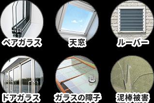 ペアガラス、天窓、ルーバー、ドアのガラス、ガラスの障子、泥棒被害